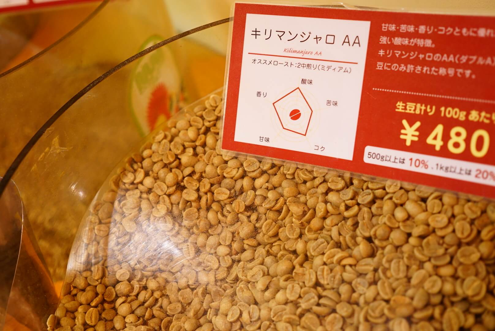 キリマンジャロコーヒーの生豆