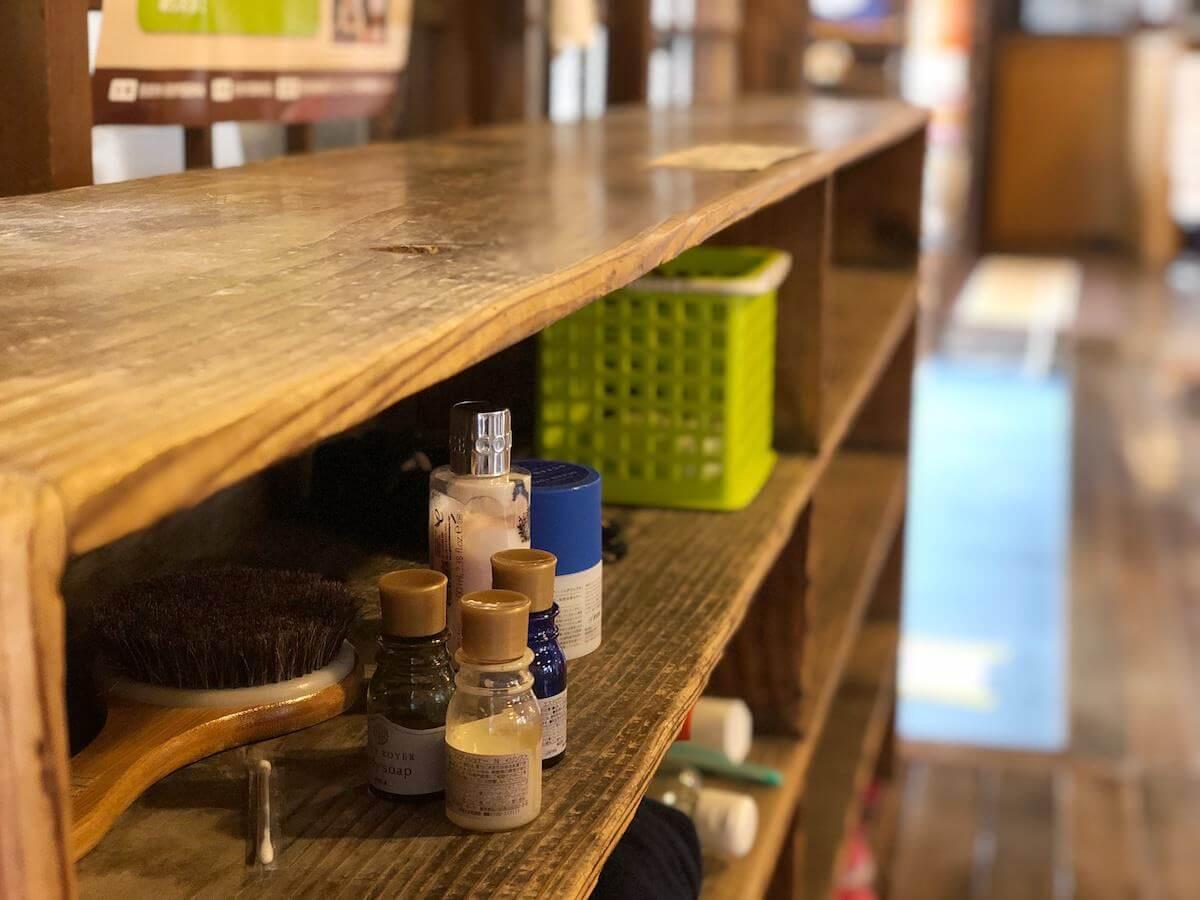 竹瓦温泉の木製の道具箱