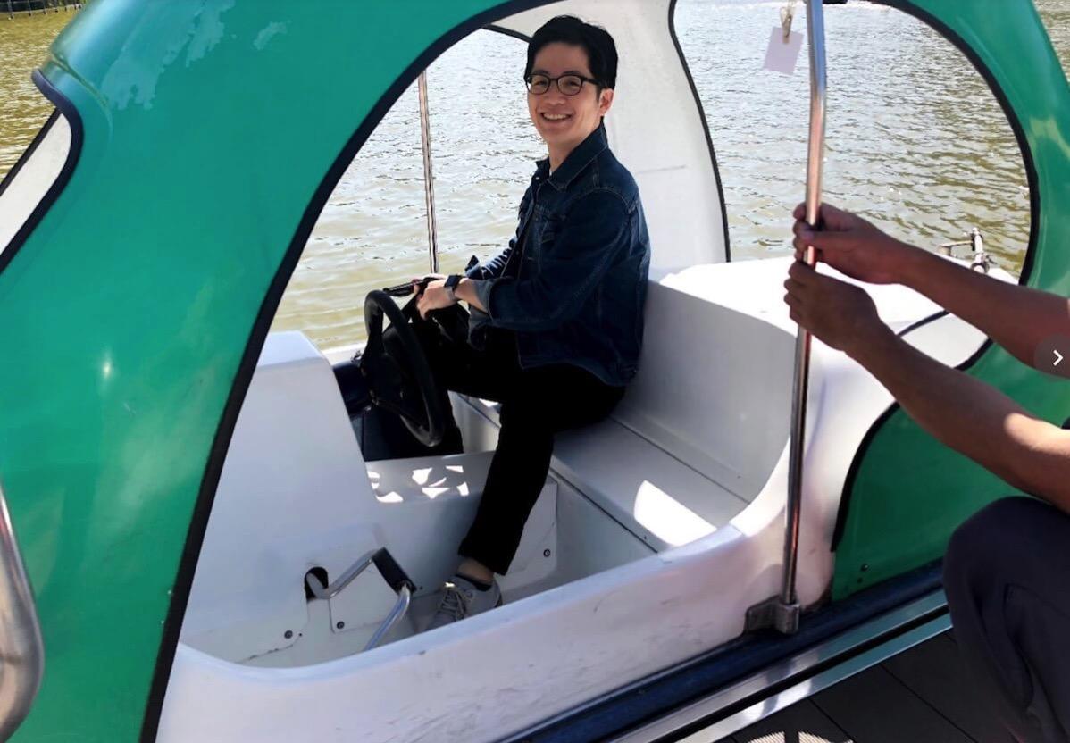 ボートにのる自分