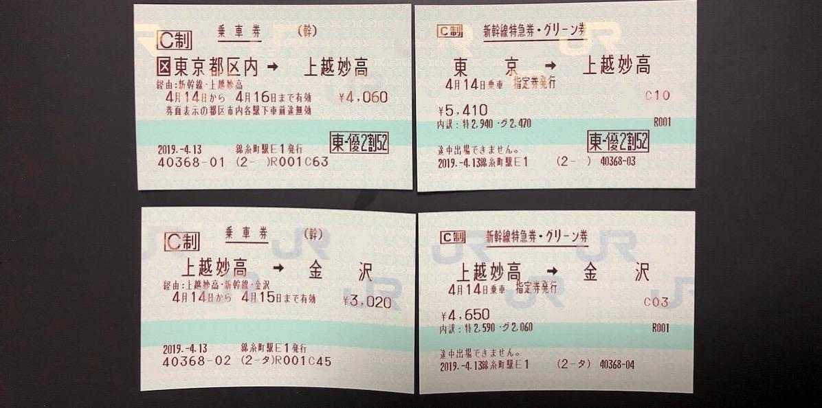 4枚になった新幹線の切符